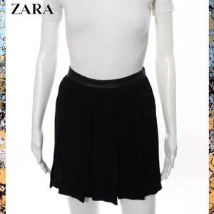 ZARA Edgy Blk Separate Layer Pleated Detail Skirt